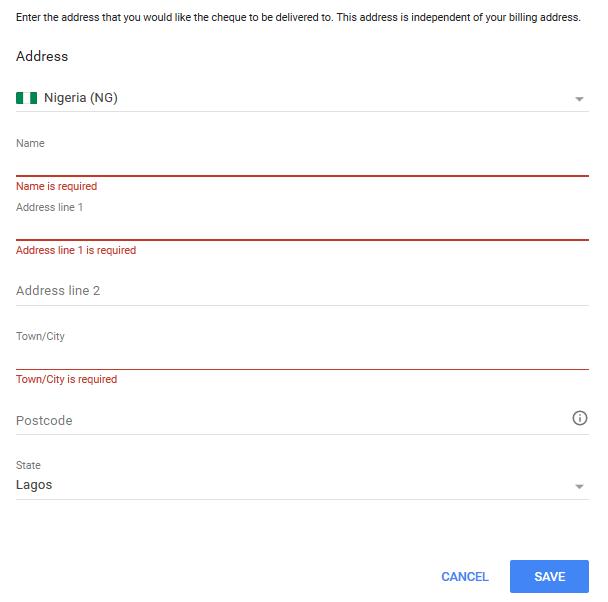 adding check as AdSense withdrawal method