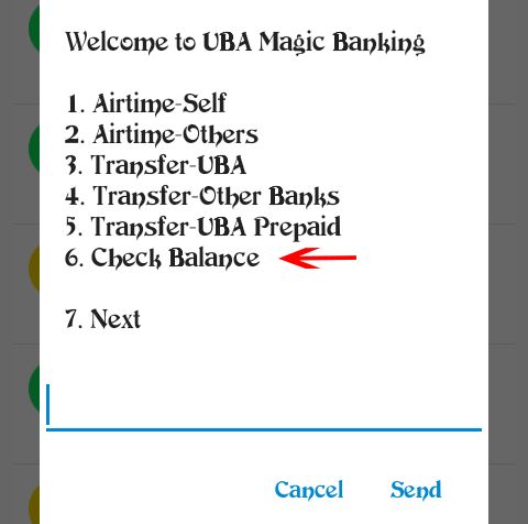 UBA magic banking: Check balance