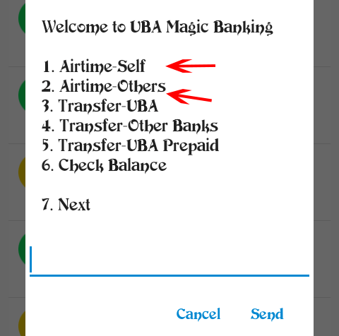 Welcome to UBA Magic banking: 1. Airtime-Self  2. Airtime-Others.
