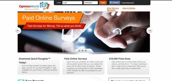 Opinion World: Take surveys for money. Tell us what you think.