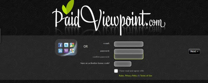 Homepage of PaidViewPoint.com