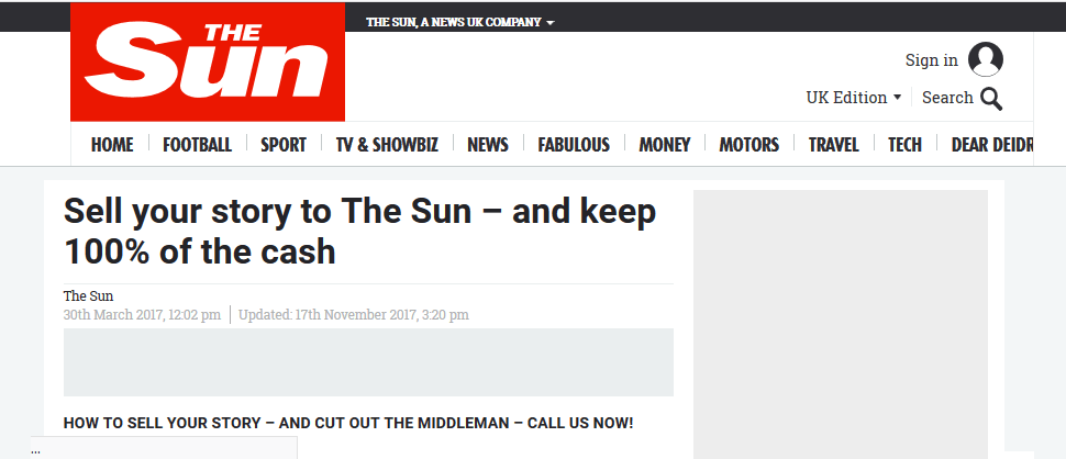 submit stories to the sun without paying anything