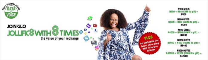 Glo tariff plan: Jollific8 with 8 times the value of your recharge