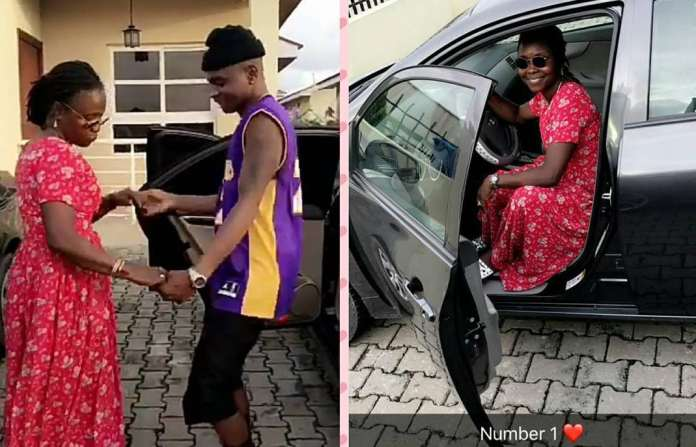 Lil Kesh and his mother dancing and celebrating new car