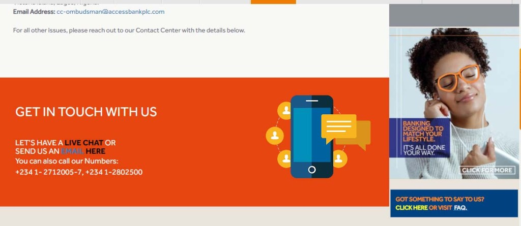 Access Bank Customer Care Phone Number, Email Address, Live Chat