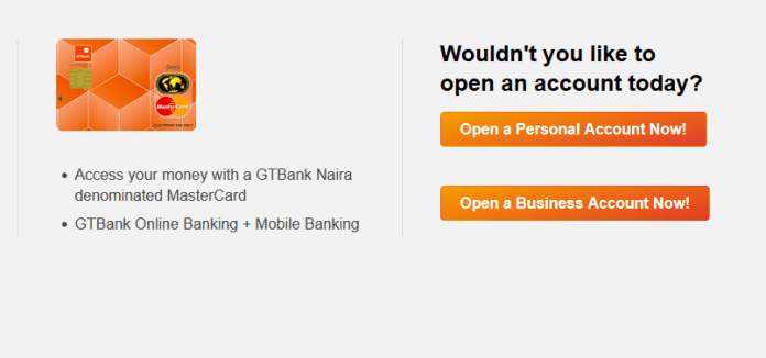 Open a personal / business account with GTBank
