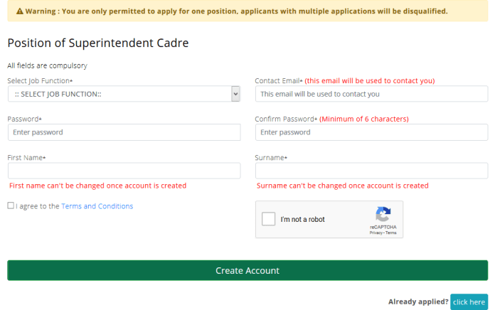 Nigeria customs account creation form