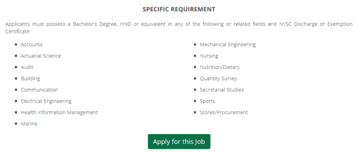 "Nigeria customs ""Apply for this job"" link"