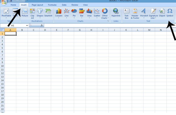 Insert symbol on MS Excel