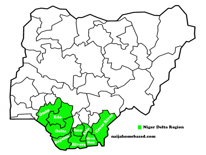 map of Nigeria indicating Niger delta region in green