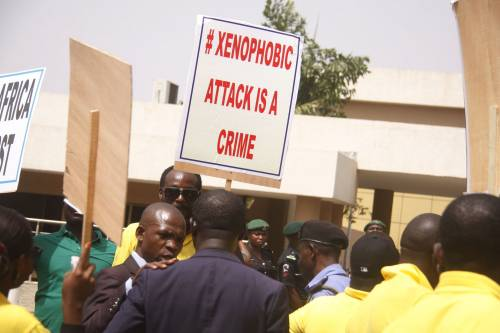 Protest in Abuja, Nigeria, condemning Xenophobic attacks on Nigerians living in South Africa