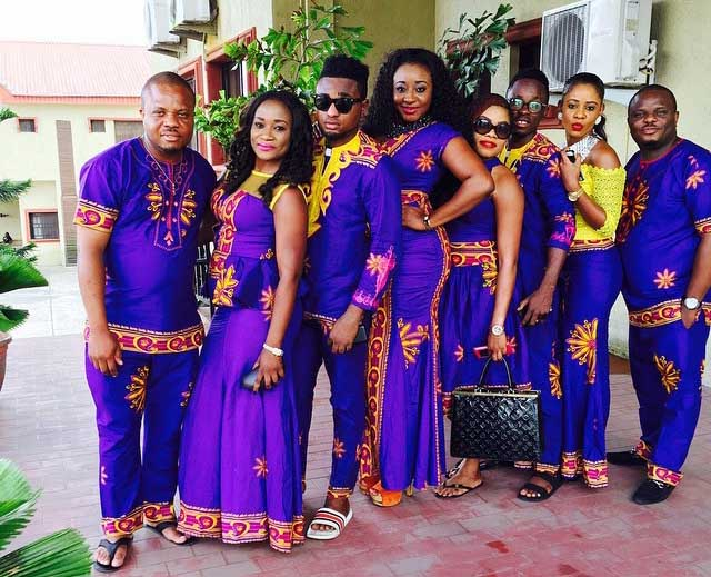Ini Edo 4th (from left) along with her siblings and family friends