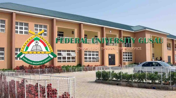 Federal University Gusau logo and school building