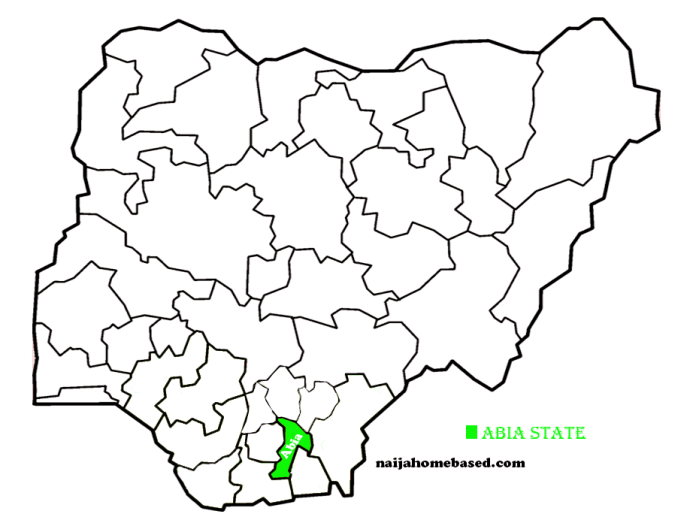 map of nigeria showing abia state