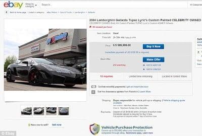 Chris Brown's $500K Lamborghini Gallardo with Tupac lyrics painted on is on sale for only $90K