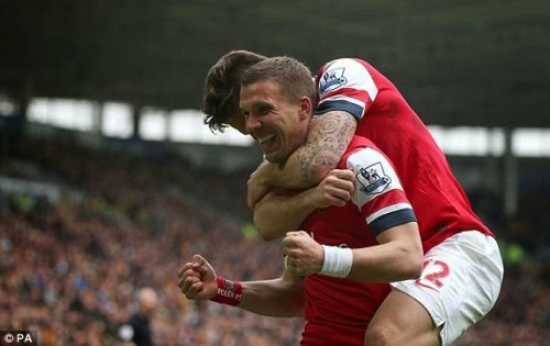 1398004277026 lc galleryImage Arsenal s Lukas Podolski  500x315 [Video] Hull 0   3 Arsenal [Premier League] Highlights