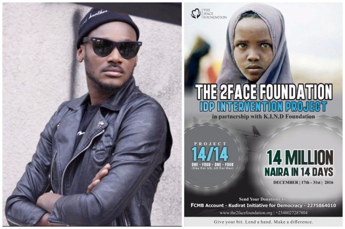 2baba Set To Raise N14m In 14 Days To Support IDP Camps In Nigeria