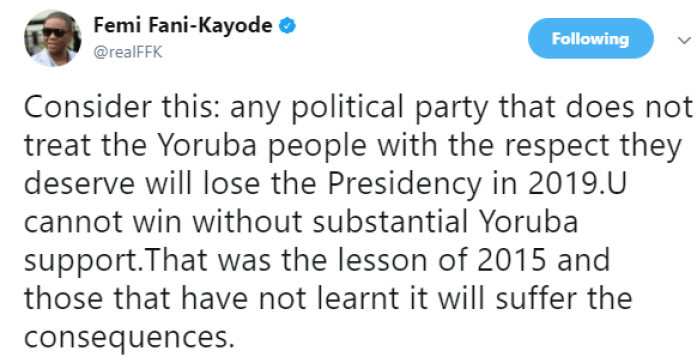 FFK - Any Party That Doesn't Respect The Yoruba People Will lose the presidency – FFK