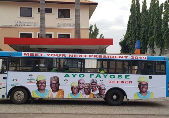 ffay1 700x490 - Ayo Fayose Presidential Campaign Buses Spotted In Abuja (Photos)
