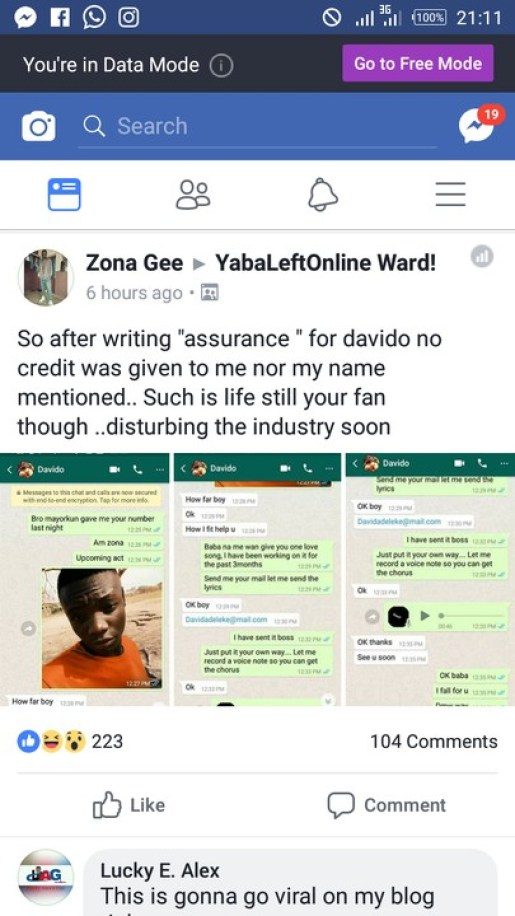I Wrote The Song Assurance For Davido
