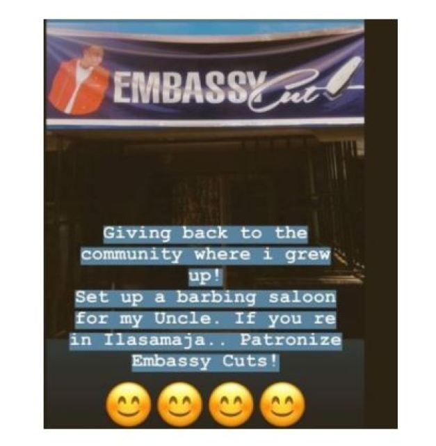 Mayorkun Opens A Barbing Salon For His Uncle