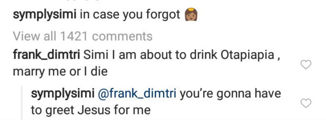 Simi Reply To A Follower Who Said He Will Commit Suicide If She Doesn't Marry Him