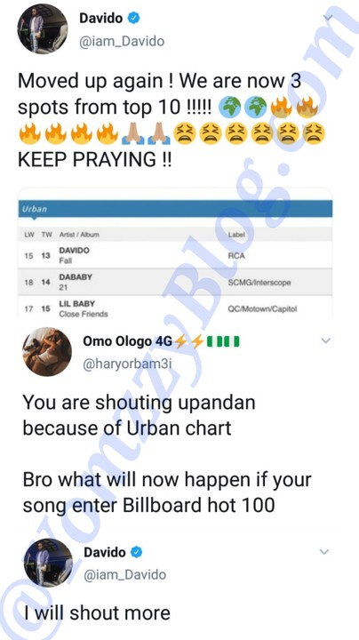 """Davido Excited As His Song """"Fall"""" Becomes 13th Most Played Song On US Radio 2"""