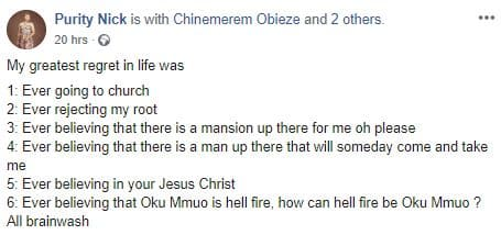 My Greatest Regret In Life Is Believing In Jesus Christ – Nigerian Traditionalist Claims