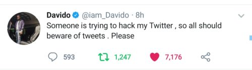 """Someone Is Trying So Hard To Hack My Twitter Account"" – Davido Laments"