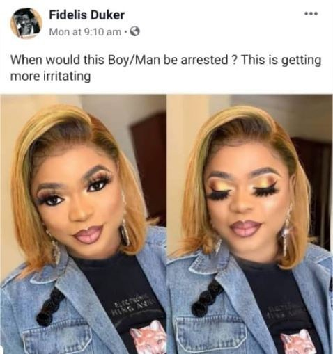 When Will Bobrisky Be Arrested? It's Getting Irritating – Fidelis Duker Asks