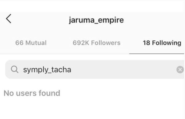 BBN: Tacha And Jaruma Un-follow Each-other On Instagram 3