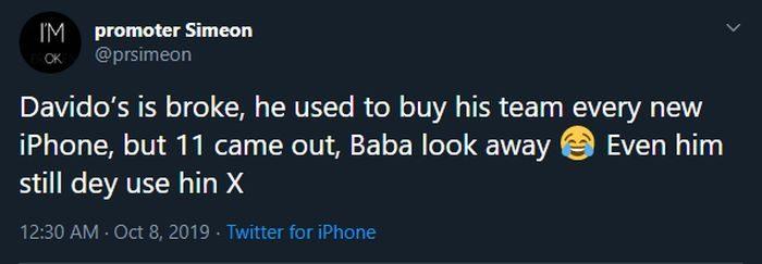 Davido is Broke say Promoter Simeon (See Tweet) 3