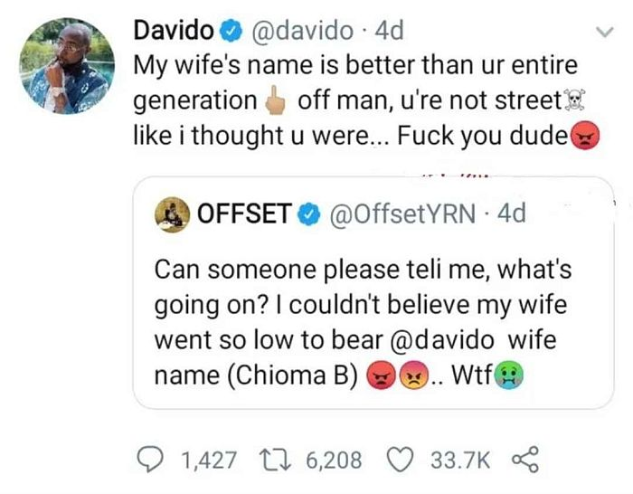 Davido Replies Offset For Downgrading Chioma's Name (Read What He Said) 4