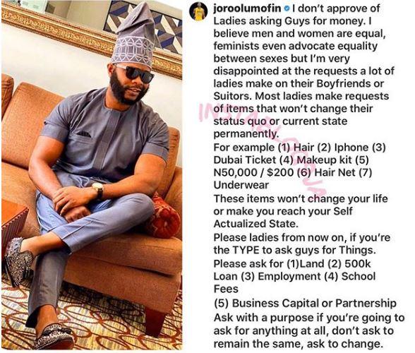 I Dont Approve Of Ladies Asking Men For Money-Joro Olumofin 1