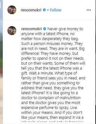 Never Give Money To People Using Iphone-Reno Omokri 1