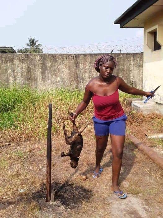 MAD O!! Beautiful Calabar Lady Spotted Killing & Roasting A Dog (See Photos) 3