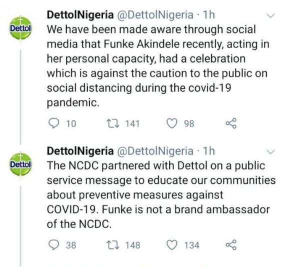 Coronavirus: Dettol Disown Funke Akindele Over House Party
