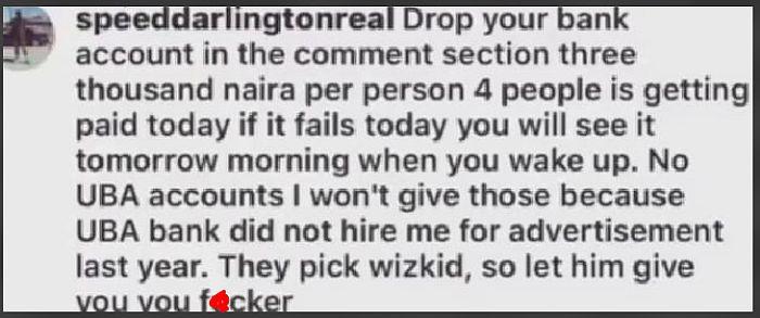 Speed Darlington Trolls UBA For Signing Wizkid Instead Of Him (Read What He Wrote)