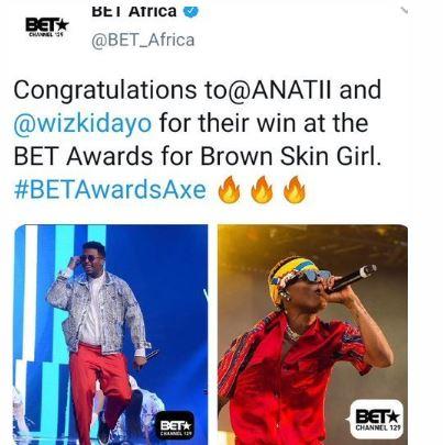 Wizkid Beats Davido, Burna Boy To Having The Highest Number Of BET Awards In Africa 1