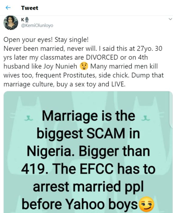 Marriage Is The The Biggest Scam In Nigeria, EFCC Has To Arrest Married People – Kemi Olunloyo 1