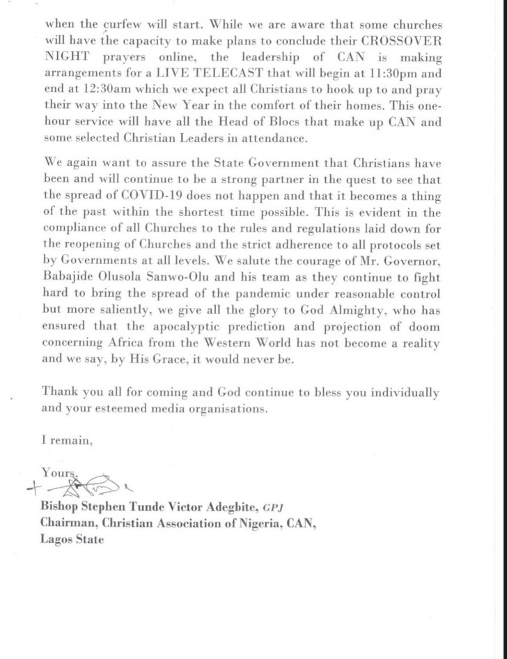 CAN Lagos Chapter Directs Churches To Close At 11pm On December 313