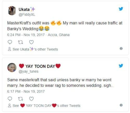 tweet 4 - LOL! See what MasterKraft wore to Banky W and Adesua's traditional wedding ceremony