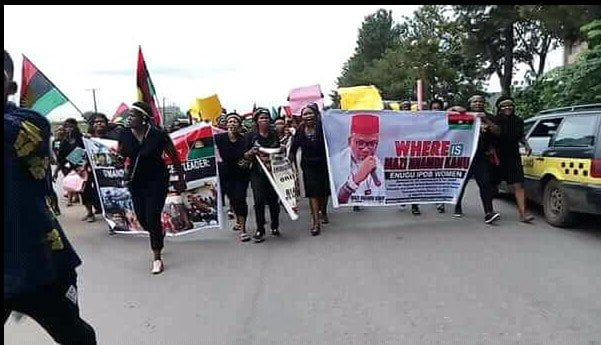 Image result for Police arrest IPOB women demanding whereabouts of Nnamdi Kanu