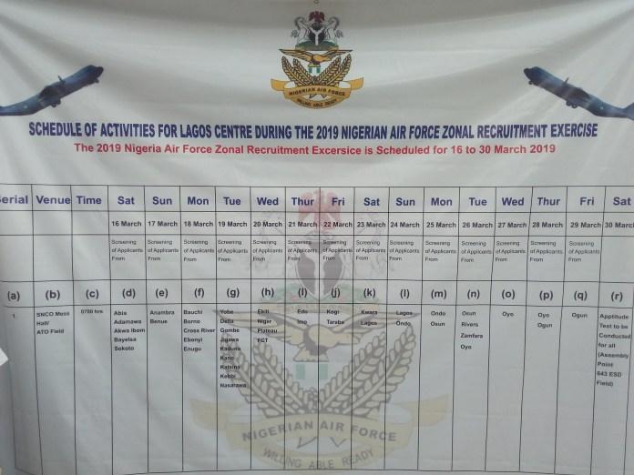 NAF RECRUITMENT!!! Nigerian Airforce Postpones 2019 Screening Exercise