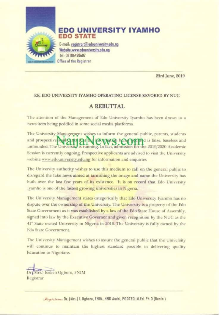 FACT CHECK: Did NUC Revoke Edo University Licence?