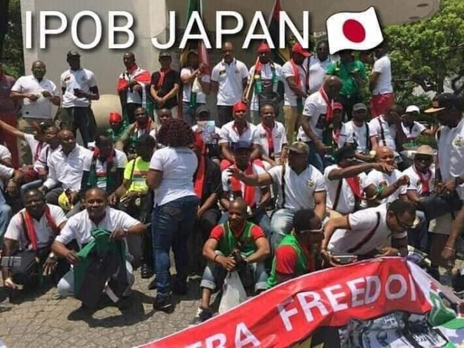 See Photos Of Protesting IPOB Members Waiting For Buhari In Japan