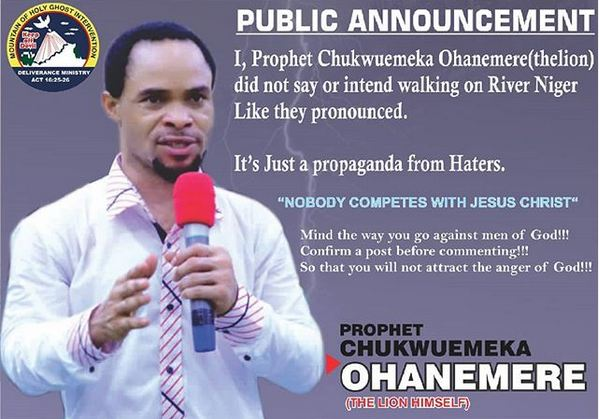 Prophet Odumeje Breaks Silence On Plans To Walk On Water