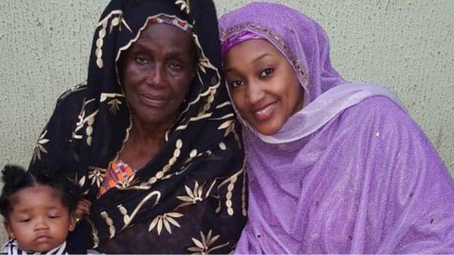 Hajia Rakiya Adam, mother of President Muhammadu Buhari and Nana Hadiza Muhammadu Buhari and her baby