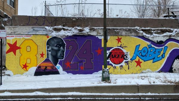 Mural in honor of Kobe Bryant, not far from the United Center in Chicago, where the 2020 NBA All-Star Weekend is being held.