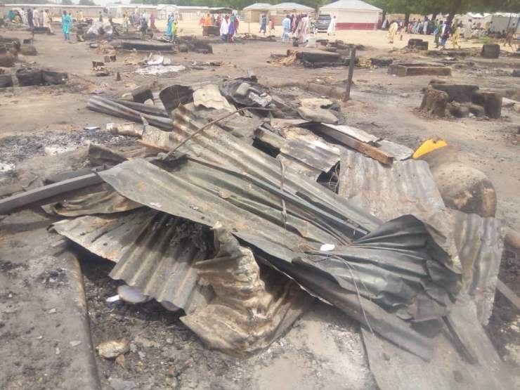 EYza0bYX0AM9SfY - One Dead, Many Injured And Property Destroyed As Fire Ravages IDP Camp In Borno (Photos)